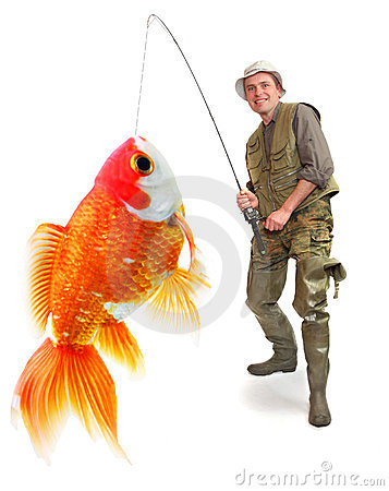 The fisherman with his big Goldfish.