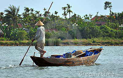 Fisherman on the Hoi An River, Vietnam Editorial Photography