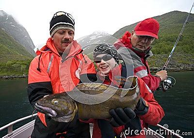 Fisherman holding Torsk