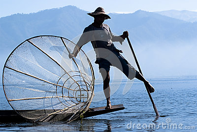 Fisherman on Inle Lake Editorial Stock Image