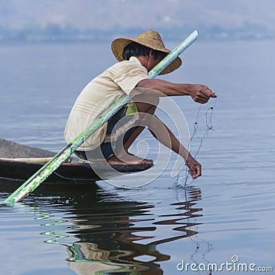 Fisherman - Inle Lake - Myanmar Editorial Stock Photo