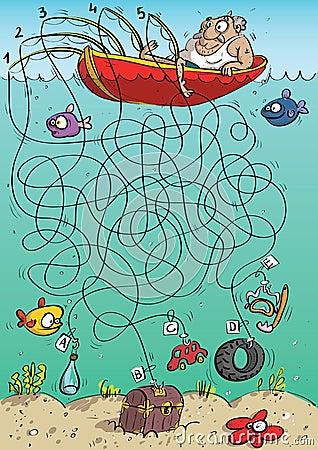 Free Fisherman Maze Game Stock Photos - 29694183