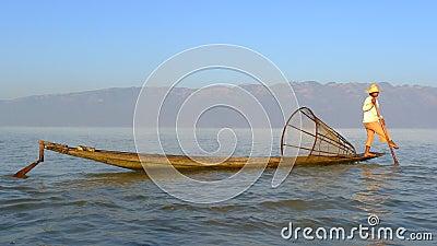 Fisherman in Myanmar Editorial Stock Photo