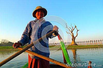 Fisherman in Myanmar Editorial Stock Image