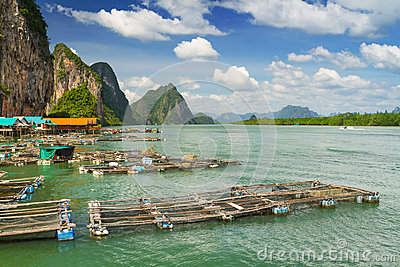 Fisherman nets in Koh Panyee settlement, Thailand