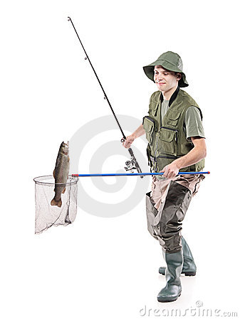 Free Fisherman Putting A Fish Into A Fishing Net Royalty Free Stock Photography - 12218007