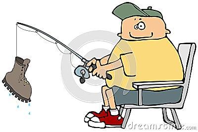 Fisherman Reeling In A Big One