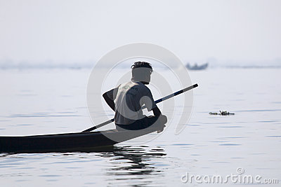 Fisherman Resting at Inle Lake Editorial Stock Photo