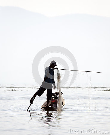 Fisherman at Inle Lake Editorial Stock Photo