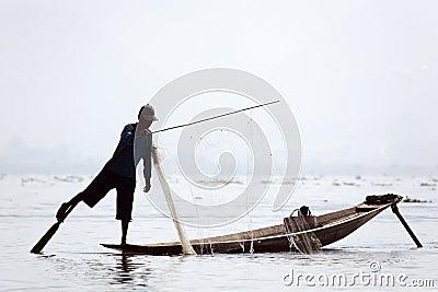 Fisherman at Inle Lake Editorial Stock Image