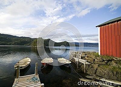 Fisherman s hut, fjord scenic