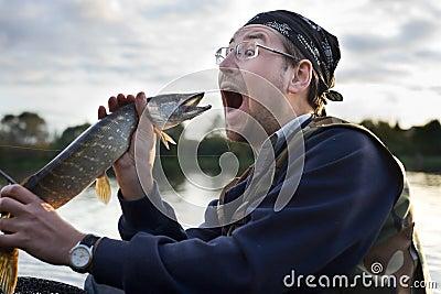 Fisherman shouting at fish