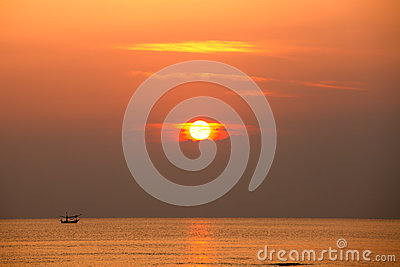 Fisherman silhouette on sunrise, Thailand