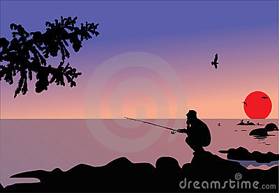 Fisherman sitting on stone