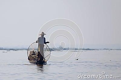 Fisherman at Inle Lake Editorial Photography