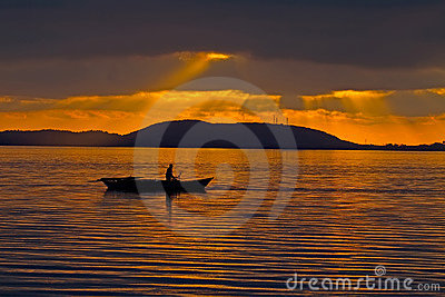 Fisherman During Sunset