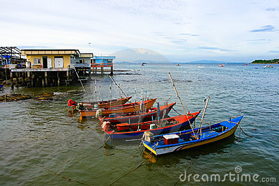 Fisherman village and boats ,at Ko Lan Thailand