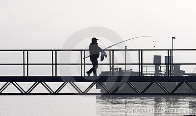 Fisherman walking