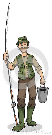 Free Fisherman With Bucket And Rod Royalty Free Stock Images - 59779049
