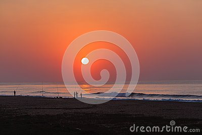Fishermen Beach Ocean Sunrise Editorial Photography