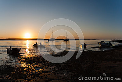 Fishermen Boat Sunset Lagoon Editorial Stock Photo