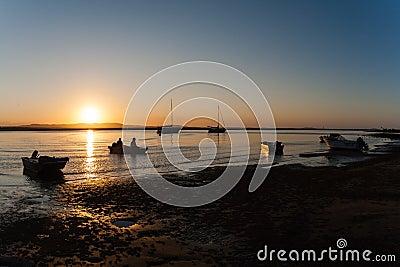 Fishermen Boat Sunset Lagoon Editorial Stock Photo