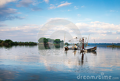 Fishermen catch fish Editorial Photography