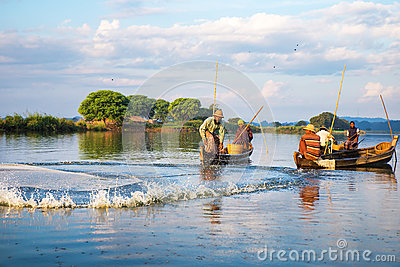 Fishermen catch fish December Editorial Photography