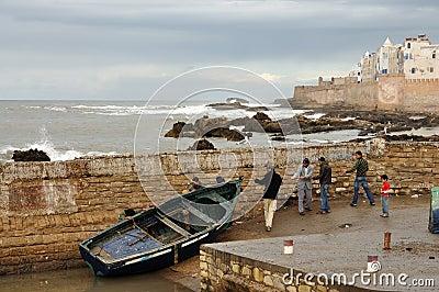 Fishermen in Essaouria, Morocco Editorial Stock Image
