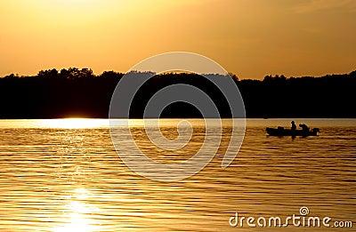 Fishermen on a Lake.