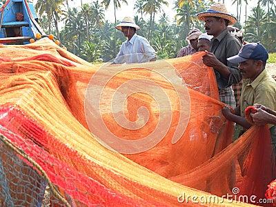 Fishermen, Marari Beach, Kerala India Editorial Photo