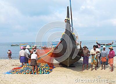 Fishermen, Marari Beach, Kerala India Editorial Photography