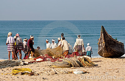Fishermen with nets Editorial Stock Photo