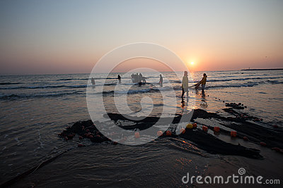 Fishermen Nets Beach Sunrise Editorial Image