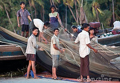 Fishermen from Ngapali, Burma Editorial Photography