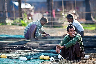 Fishermen from Ngapali, Myanmar Editorial Photo