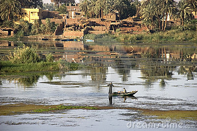 Fishermen on the Nile River, Travel in Egypt Editorial Photography