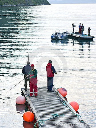 Fishermen on pier
