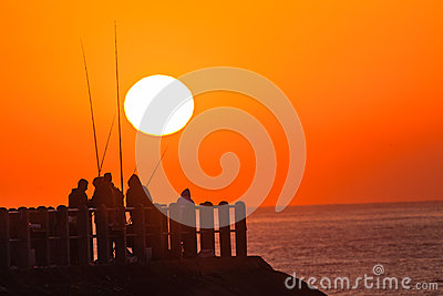 Fishermen Pier Ocean Sunrise Editorial Photography