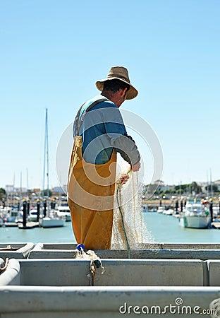 Free Fishermen Preparing Nets In The Port, Chipiona, Cadiz, Spain Stock Images - 51834734