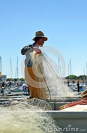 Free Fishermen Preparing Nets In The Port, Chipiona, Cadiz, Spain Royalty Free Stock Photography - 51834747