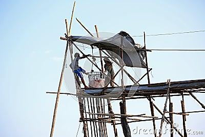 Fishermen pulling jellyfish from water Editorial Stock Photo