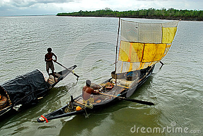 Fishermen on The River Editorial Stock Image