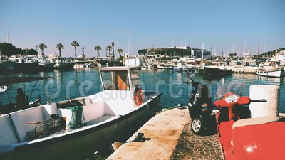 Fishermen' s-Hafen im Cassis stock video