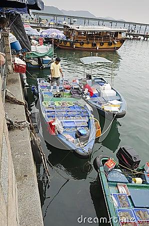 Fishermen Selling Seafood Near Shore
