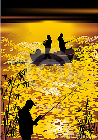 Free Fishermen Silhouettes At Gold Sunset Royalty Free Stock Images - 24515389