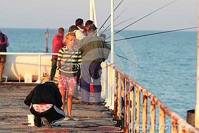 Fishermen at Skorpilovski bridge, Bulgaria Editorial Image