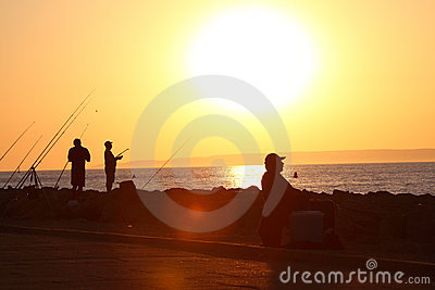 Fishermen in the sunset