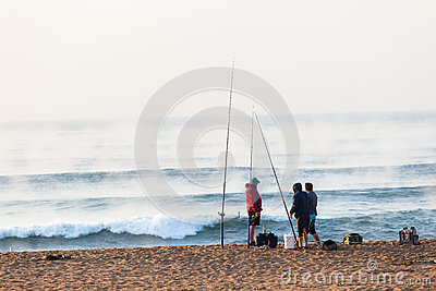 Fishermen Surf Waves Sunrise Beach Holidays Editorial Photo