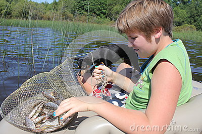 Fisherwoman and her taking